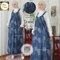 Jumbo button kubik overall dress jeans motif