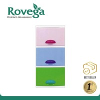 Rovega Kido Lemari Plastik Premium 3 Susun Rainbow CKD300R Food Grade