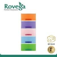 Rovega Lemari Plastik Pakaian 5 Susun Laci Rak Buku Rovega Cas510RB