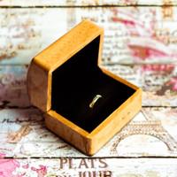 Brown Rustic Wood Ring Box Velvet Couple  Kotak Cincin Kawin Kayu - Cokmud - Hitam