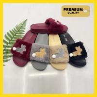 [PREMIUM] SANDAL WANITA SELOP BULU BALANCE 813 Sandal Bulu Bunny Lucu