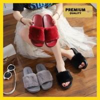 [PREMIUM] SANDAL WANITA SELOP BULU Premium Sandal Rumah Bulu Polos - Hitam, 37
