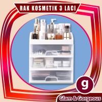 Rak Kosmetik Plastik Serbaguna 3 Laci RKP005 Make Up Organizer