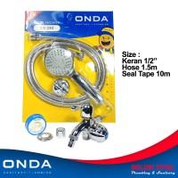 PAKET 2 Shower mandi set ONDA SO 230 + Kran double K 406 + seal tape