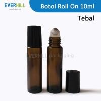 10ml Botol roll on tebal amber glass metal ball roller bottle