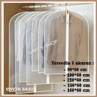 Cover baju jas gaun PEVA anti air , Pelindung baju jas gaun anti debu - 80 X 60