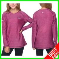 Baju Olahraga Senam Lengan Panjang Wanita Hijab Lari Kaos Fitness Gym - Pink, M