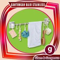 Gantungan Baju Handuk Kamar Mandi Serbaguna Stainless GB006 Kuat Murah