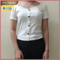(G08) Baju Atasan Wanita Crop Top Kancing Rajut Import