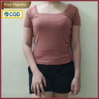 (G13) Kaos Atasan Wanita T-shirt U Neck Import Spandex