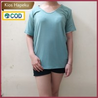 (G15) Kaos Atasan Wanita / T-shirt V Neck Import Spandex