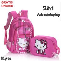 Tas Ransel Anak Sekolah TK SD Cewek Perempuan Hello Kitty 2in1 Murah 2