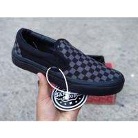 Sepatu Vans Slip On Catur Checkerboard Mono black Original Premium