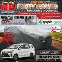 IMPREZA HD Avanza Veloz 2019 Car Body Cover 100% WATERPROOF - 4 LAPIS - Abu-abu Muda