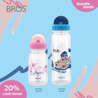 BROS Botol Minum Anak Sedotan / Crystal 350ml & 550ml Straw Bundle (A)