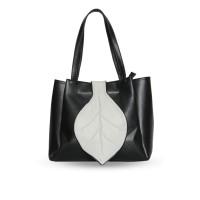 Phitone - Tas Totebag Wanita Daun Hitam Putih Faux Leather