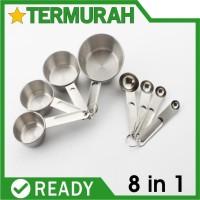 Sendok Takar Stainless 8in1 set ukur measuring spoon cup cups spoons 8