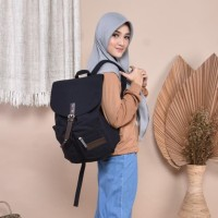 TAS RANSEL KANVAS WANITA LAPTOP 14 INCH KAGAMI BACKPACK, BLACK