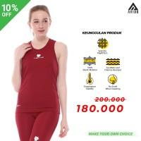 Tiento Baselayer Singlet Olahraga Gym Wanita Tank Top Sport Maroon Ori - L