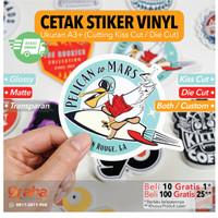 Cetak Stiker Vinyl A3 Glosy / Doff / Transparant (Print + Cutting)