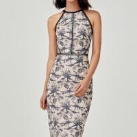 Kasiani Lace Halter Neck Dress - Steel Blue