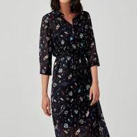 Florella Midi Shirt Dress in Space Odyssey - Black - L
