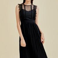Trixie Lace Panel Pleated Dress - Black