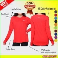 Baju Wanita OlahRaga Kaos Lengan Panjang Hijab Senam Lari Fitness Gym - ABU, S