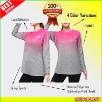 Baju Olahraga Lengan Panjang Wanita Senam Kaos Fitness Gym Lari Hijab