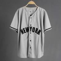 JERSEY BASEBALL - Baju Baseball / Baju hip-hop / newyork grey - WARNA 01