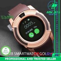 V8 Smartwatch Gold Brown Support Sim GSM Nelpon SMS Smart Watch DZ11