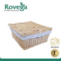 Keranjang Rotan Persegi dengan Kain Linen / Square Storage Basket