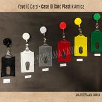 Yoyo ID Card Plastik + Casing ID Card Holder Amica Plastik Satu Set - Putih