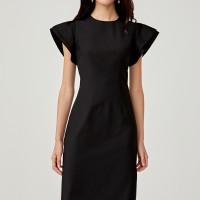 Floella Flare Sleeve Midi Dress - Black - XS