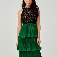 Keegan Pleated Tier Lace Dress - Green