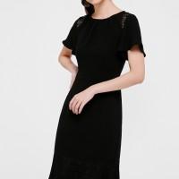 Odina Lace Trim Midi Dress - Black