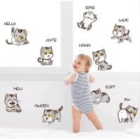 Stiker Dinding / Stiker Kaca / Wall Sticker (9 Anak Kucing Lucu)