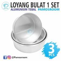Pamosroom Loyang Bulat 1 Set 3 Pcs Bahan Aluminium TEBAL Loyang Kue