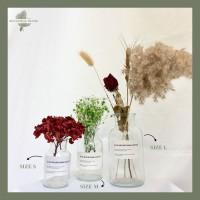 Glass Flower Vas Kaca Bening Transparan Pot Bunga Gelas Botol Dekorasi