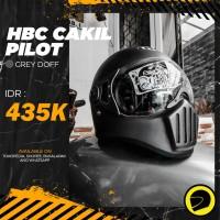 Helm Cakil Pilot HBC Grey / Abu Abu