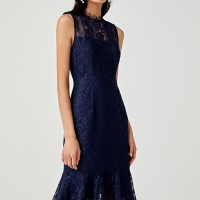Brylie Lace Overlay Trumpet Dress - Navy Blue