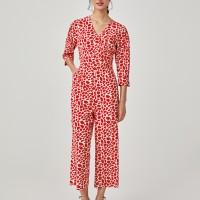Franceska Balloon Sleeve Jumpsuit - Red