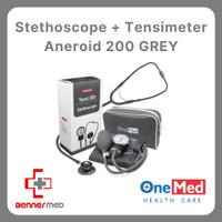 Tensimeter Aneroid 200 & Stetoscope Gray / Grey (Abu-Abu)