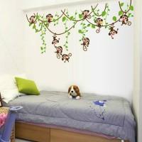 Stiker Dinding / Kaca / Wall Sticker (Monyet Kecil Lucu Bergantungan)