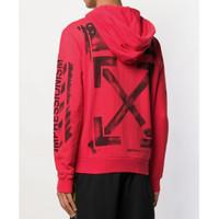 Off White SS19 Stencil Zip Jaket Hoodie - Red 100% Original