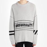 Off White SS19 Cotton Crewneck Sweater Grey 100% Original