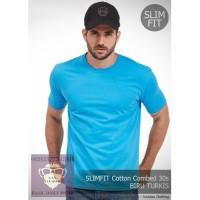 T Shirt Kaos Polos Oblong Oneck SLIM FIT Cotton Combed 30s Biru Turkis