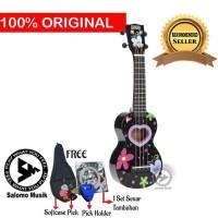Ukulele Soprano Mahalo Heart Love Black MA1HE-BK + Softcase