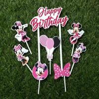 topper hiasan kue ulang tahun happy birthday karakter minnie mouse