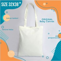 tas tote bag polos, bahan kanvas, readystok, murah, warna broken white